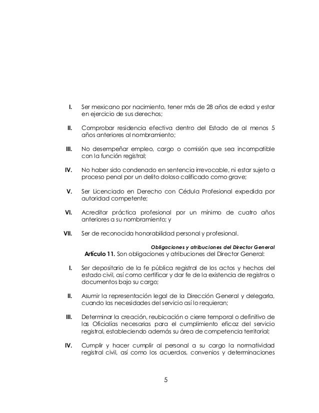 Reglamento del registro civil para el estado de guanajuato