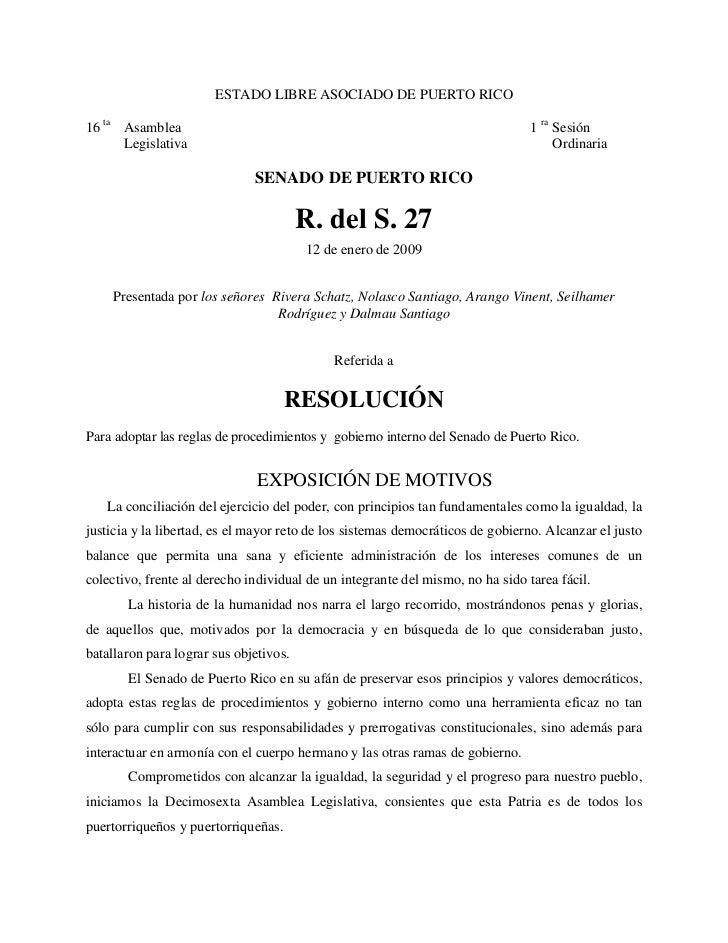 ESTADO LIBRE ASOCIADO DE PUERTO RICO16 ta Asamblea                                                                  1 ra S...