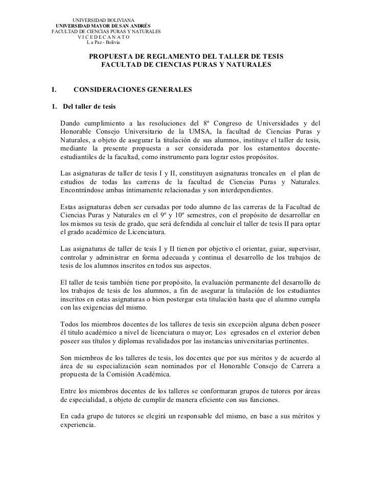 UNIVERSIDAD BOLIVIANA UNIVERSIDAD MAYOR DE SAN ANDRÉSFACULTAD DE CIENCIAS PURAS Y NATURALES        VICEDECANATO           ...