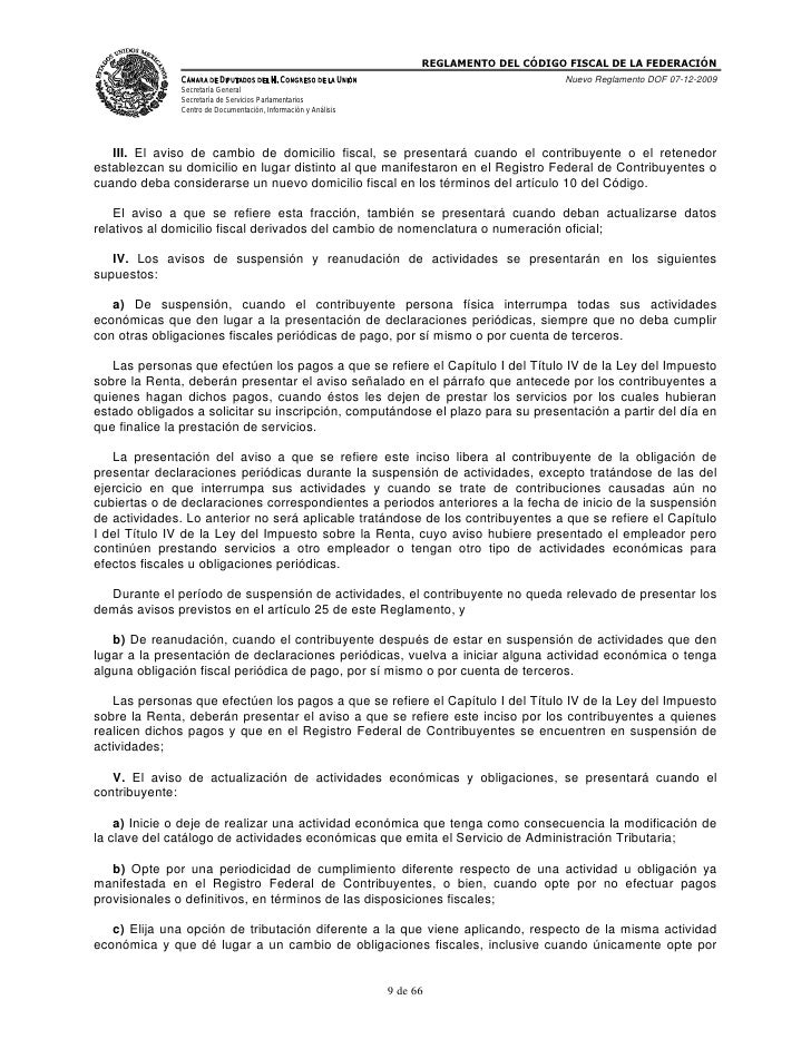 Reglamento del xodigo fiscal de la federacion