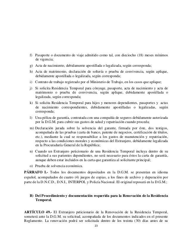 Reglamento de Migración Número 631-11