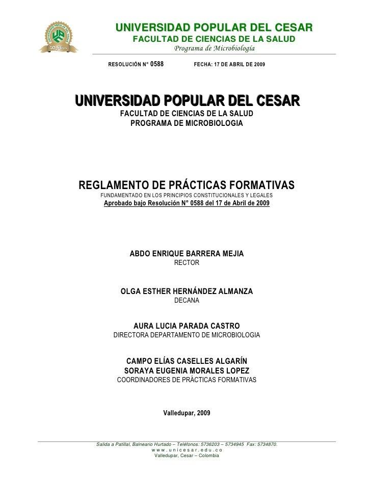 UNIVERSIDAD POPULAR DEL CESAR                   FACULTAD DE CIENCIAS DE LA SALUD                          Programa de Micr...