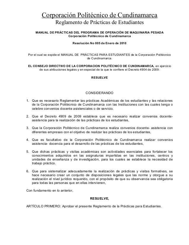 Corporación Politécnico de Cundinamarca  Reglamento de Prácticas de Estudiantes  MANUAL DE PRÁCTICAS DEL PROGRAMA DE OPERA...