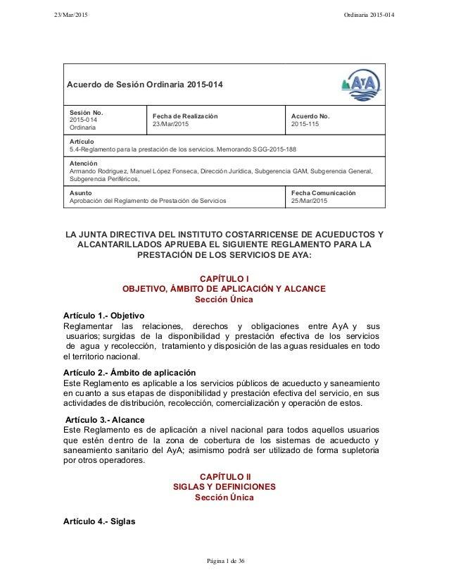 Reglamento de prestación de servicios del AyA enero 2016