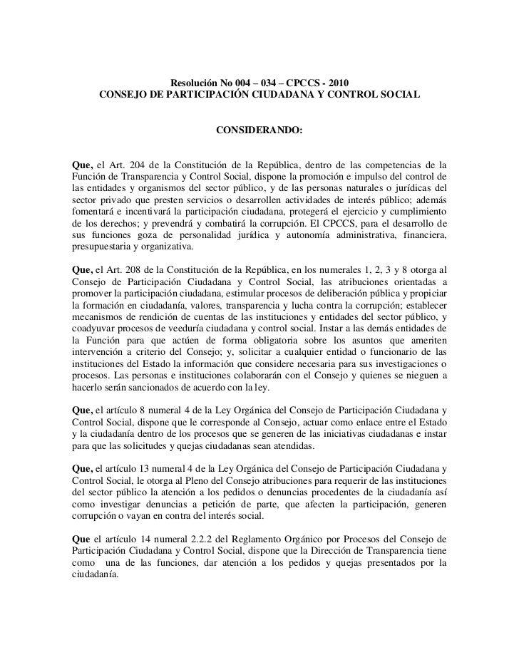 Resolución No 004 – 034 – CPCCS - 2010      CONSEJO DE PARTICIPACIÓN CIUDADANA Y CONTROL SOCIAL                           ...