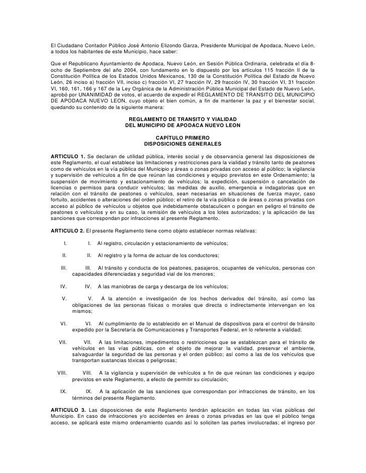 El Ciudadano Contador Público José Antonio Elizondo Garza, Presidente Municipal de Apodaca, Nuevo León, a todos los habita...
