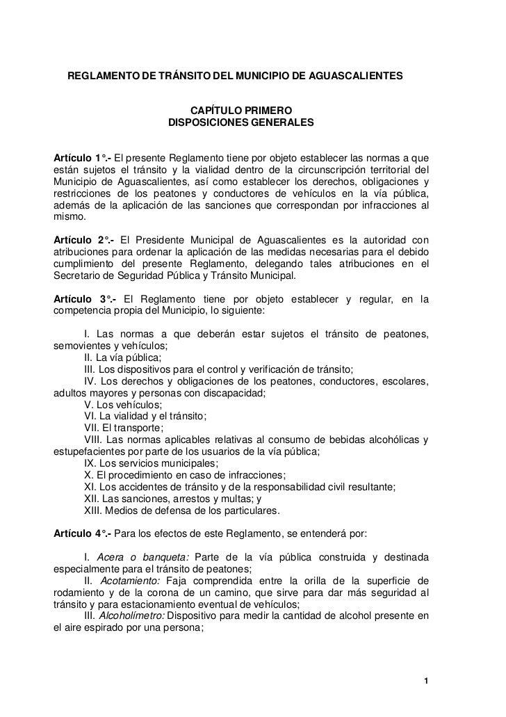 REGLAMENTO DE TRÁNSITO DEL MUNICIPIO DE AGUASCALIENTES                             CAPÍTULO PRIMERO                       ...