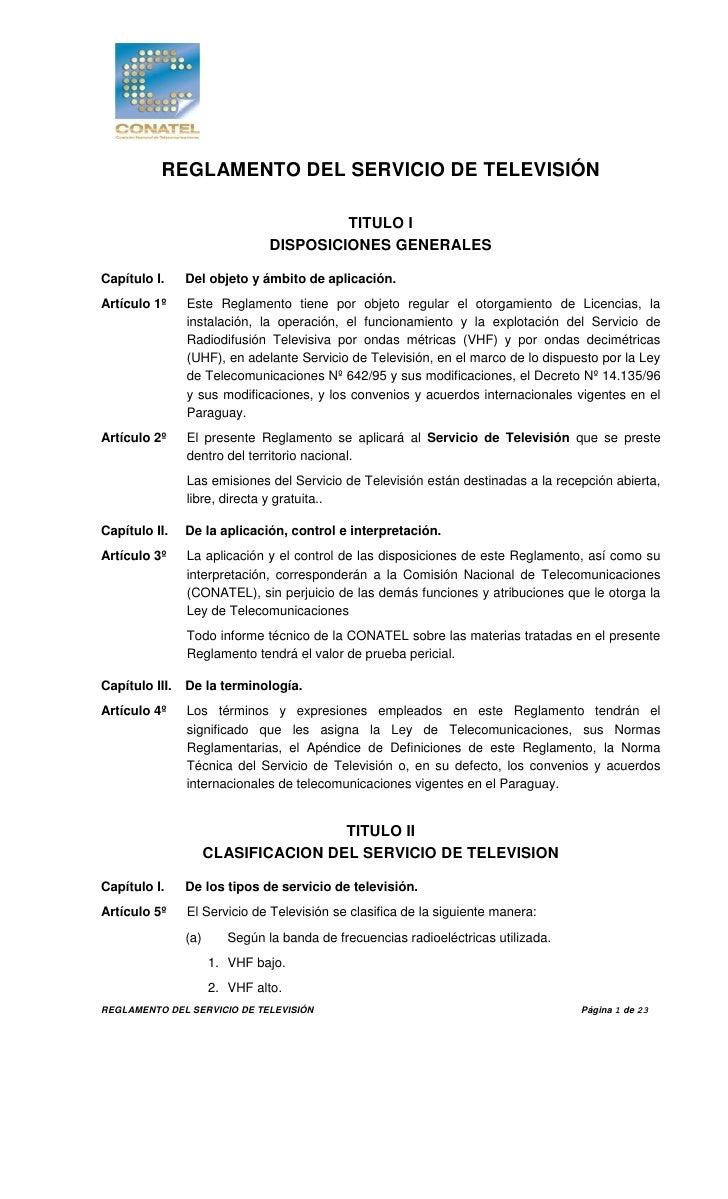REGLAMENTO DEL SERVICIO DE TELEVISIÓN                                         TITULO I                                DISP...