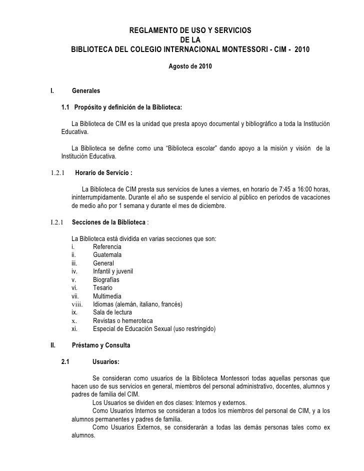 REGLAMENTO DE USO Y SERVICIOS                                       DE LA            BIBLIOTECA DEL COLEGIO INTERNACIONAL ...