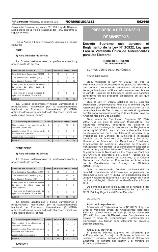 563449NORMAS LEGALESMiércoles 7 de octubre de 2015El Peruano / Graves del Decreto Legislativo Nº 1150, Ley de Régimen Disc...
