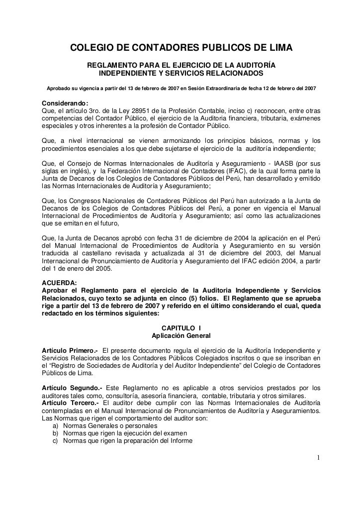 COLEGIO DE CONTADORES PUBLICOS DE LIMA                 REGLAMENTO PARA EL EJERCICIO DE LA AUDITORÍA                   INDE...