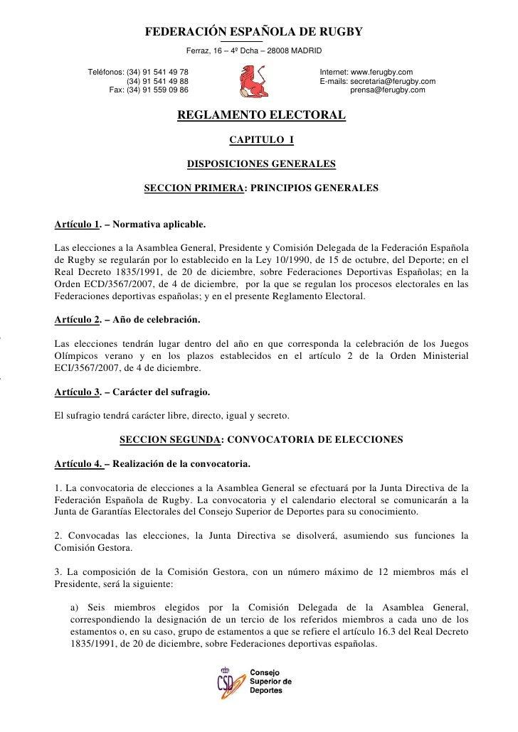 FEDERACIÓN ESPAÑOLA DE RUGBY                                   Ferraz, 16 – 4º Dcha – 28008 MADRID        Teléfonos: (34) ...