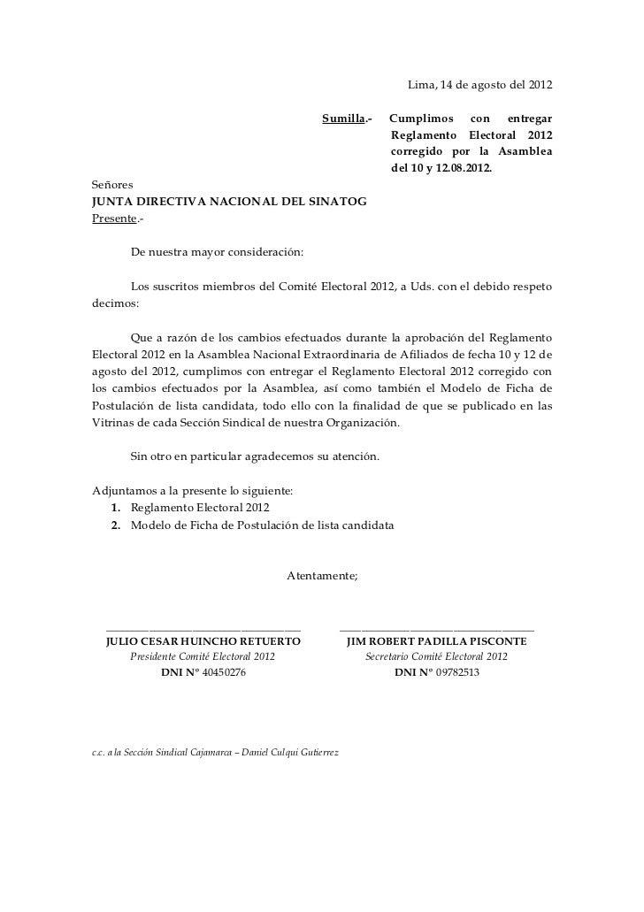 Lima, 14 de agosto del 2012                                                         Sumilla.-        Cumplimos con entrega...