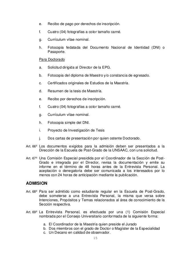 Reglamento epg UNSAAC