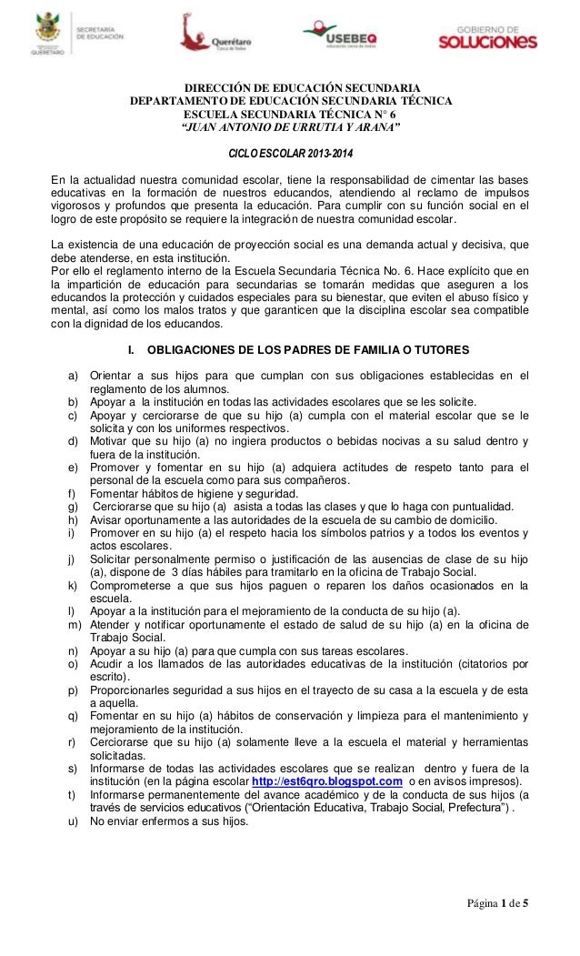 Página 1 de 5 DIRECCIÓN DE EDUCACIÓN SECUNDARIA DEPARTAMENTO DE EDUCACIÓN SECUNDARIA TÉCNICA ESCUELA SECUNDARIA TÉCNICA N°...