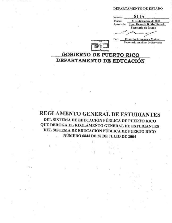 Reglamento del estudiante - diciembre 2011