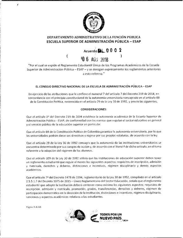 Reglamento Estudiantil ESAP - Acuerdo 0002 de Agosto 6 de 2018