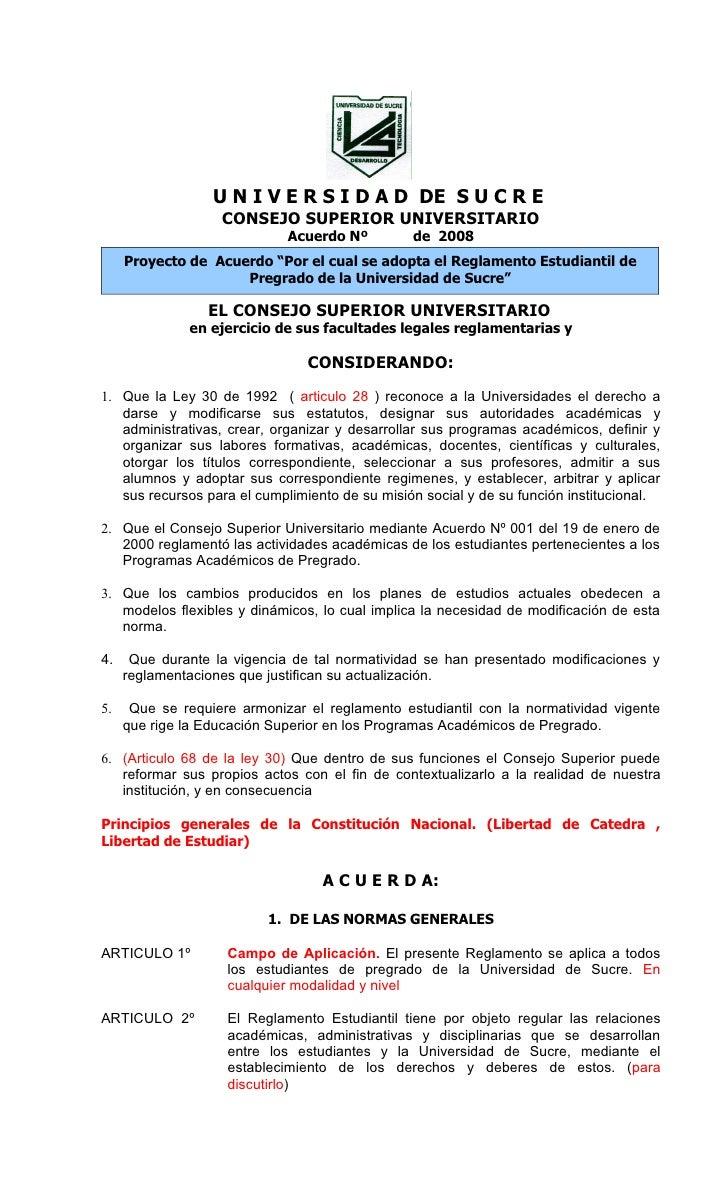 U N I V E R S I D A D DE S U C R E                    CONSEJO SUPERIOR UNIVERSITARIO                              Acuerdo ...