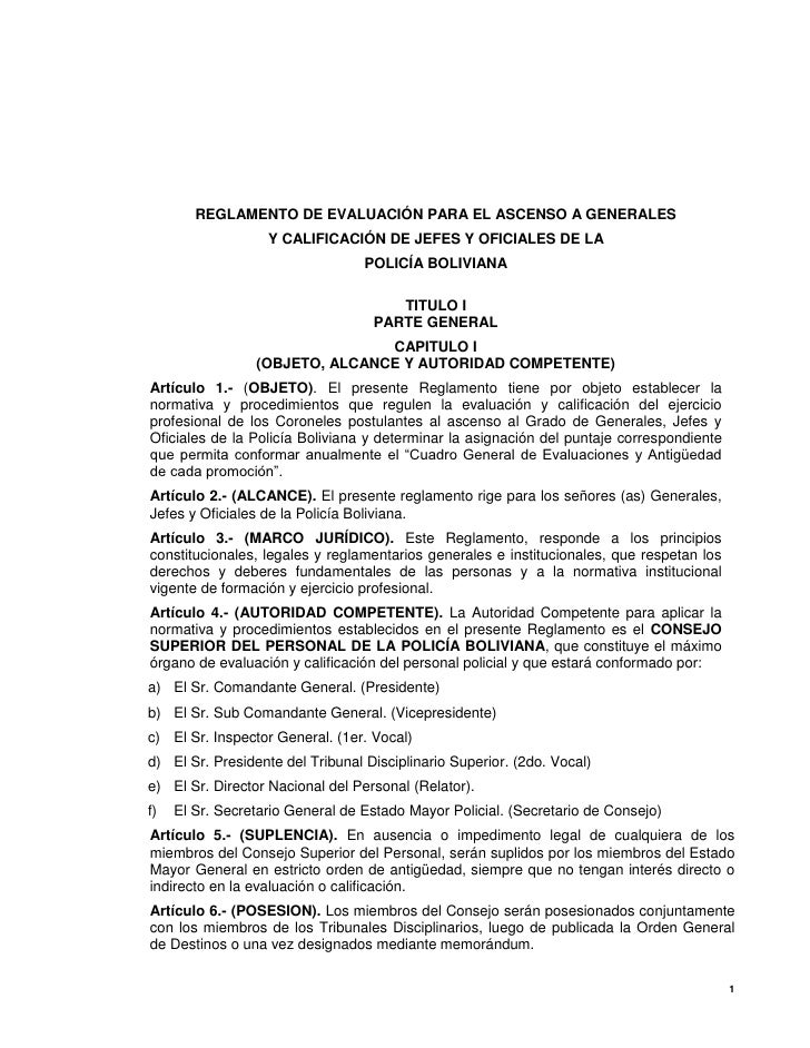REGLAMENTO DE EVALUACIÓN PARA EL ASCENSO A GENERALES                    Y CALIFICACIÓN DE JEFES Y OFICIALES DE LA         ...