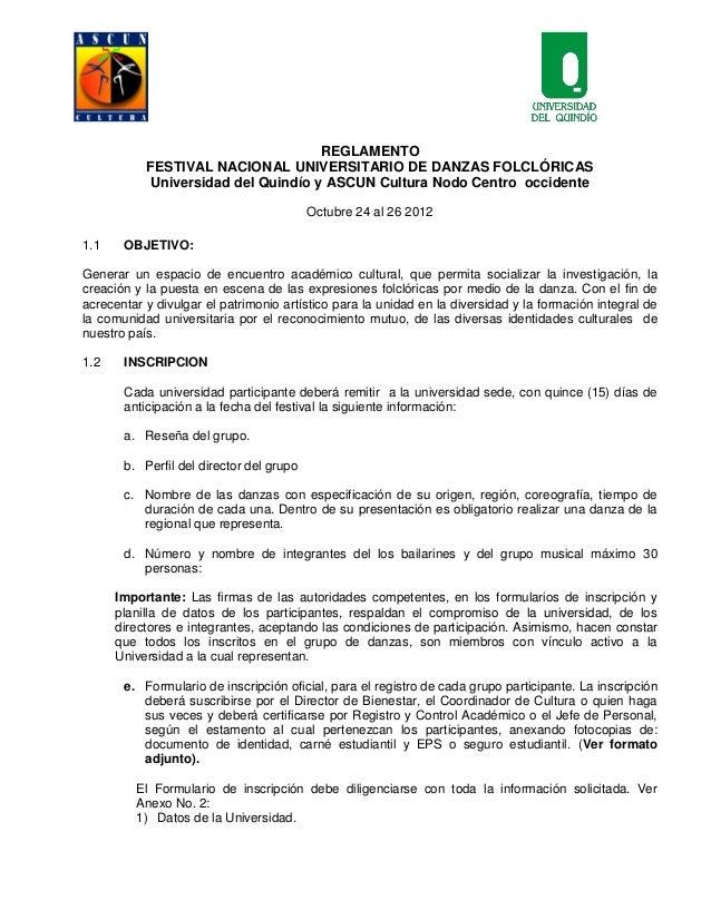 REGLAMENTO           FESTIVAL NACIONAL UNIVERSITARIO DE DANZAS FOLCLÓRICAS           Universidad del Quindío y ASCUN Cultu...