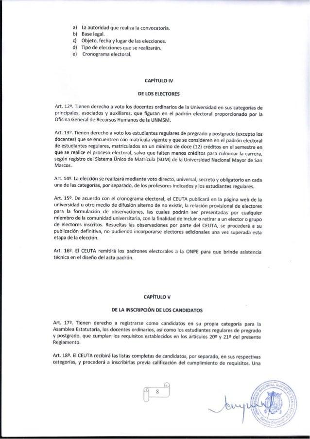 NUEVO REGLAMENTO ELECTORAL DE LA UNIVERSIDAD NACIONAL MAYOR DE SAN MA…