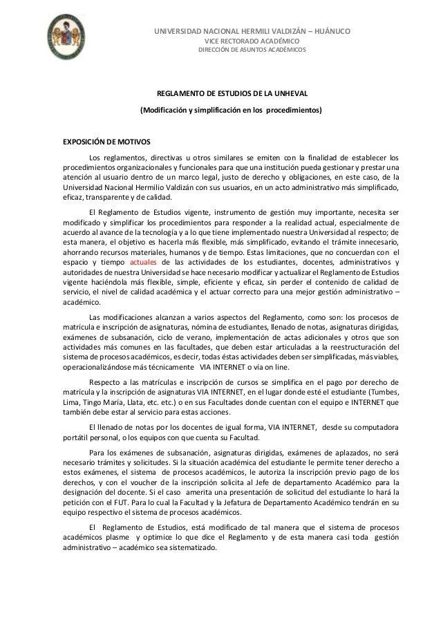 Reglamento general de matricula UNHEVAL