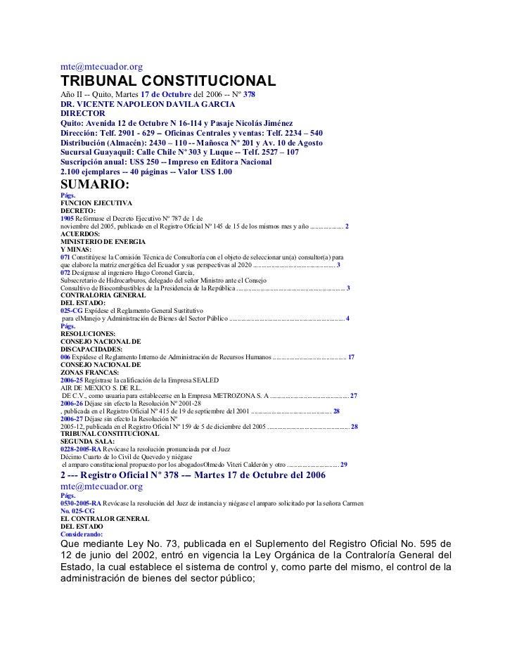 mte@mtecuador.orgTRIBUNAL CONSTITUCIONALAño II -- Quito, Martes 17 de Octubre del 2006 -- Nº 378DR. VICENTE NAPOLEON DAVIL...