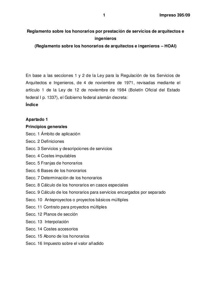 1                         Impreso 395/09Reglamento sobre los honorarios por prestación de servicios de arquitectos e      ...