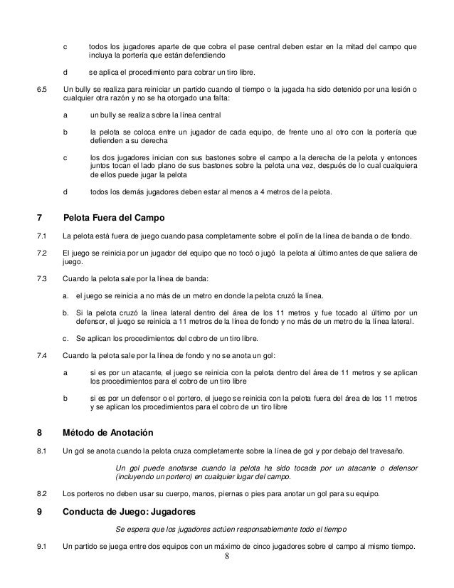 Reglamento Hockey 5