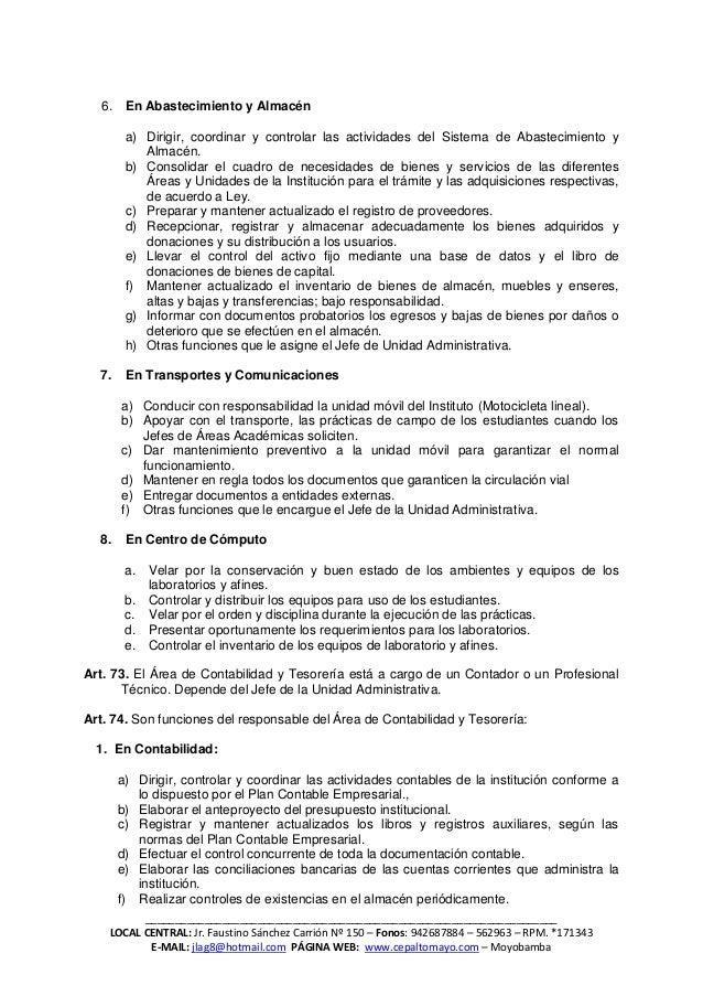 Reglamento institucional del iestp moyobamba julio 2011 for Registro de bienes muebles central
