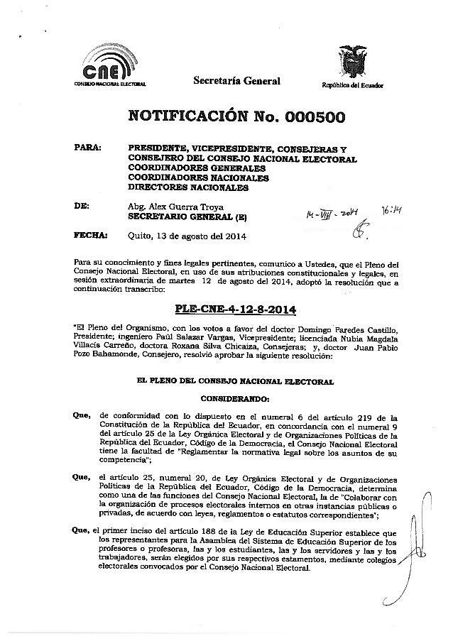 Reglamento Conformación Colegios Electorales del Sistema Nacional de Educacón Superior Ecuador