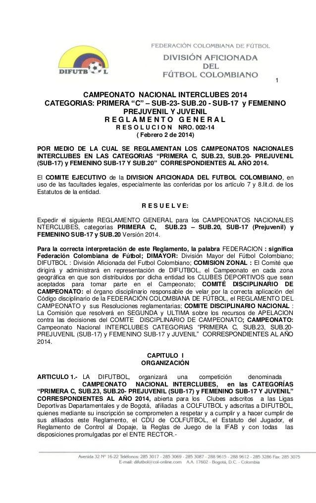 """1  CAMPEONATO NACIONAL INTERCLUBES 2014 CATEGORIAS: PRIMERA """"C"""" – SUB-23- SUB.20 - SUB-17 y FEMENINO PREJUVENIL Y JUVENIL ..."""