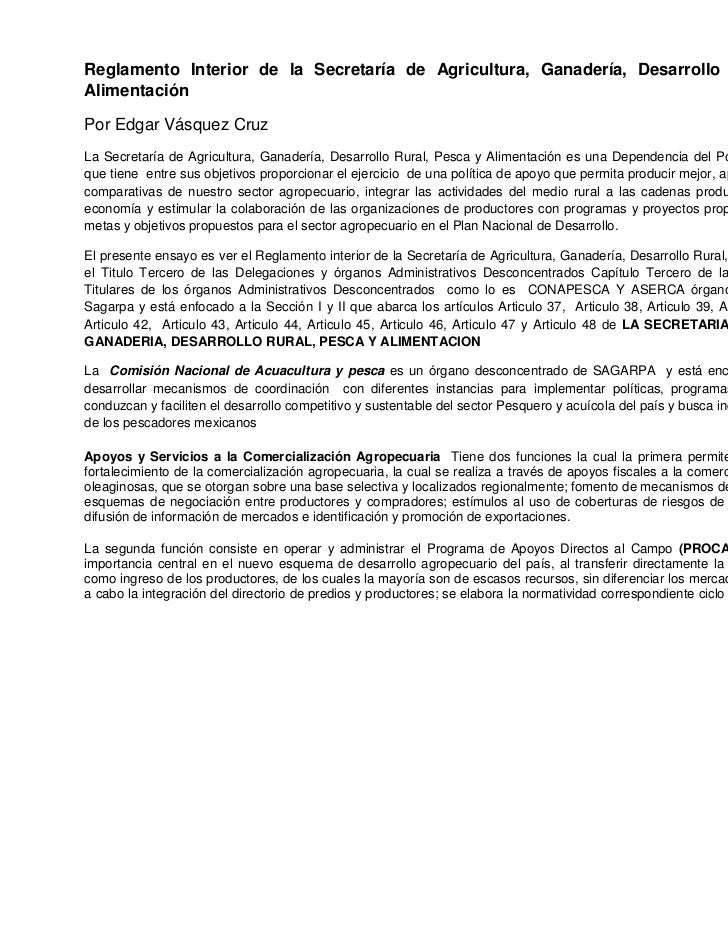 Reglamento Interior de la Secretaría de Agricultura, Ganadería, Desarrollo Rural, Pesca yAlimentaciónPor Edgar Vásquez Cru...