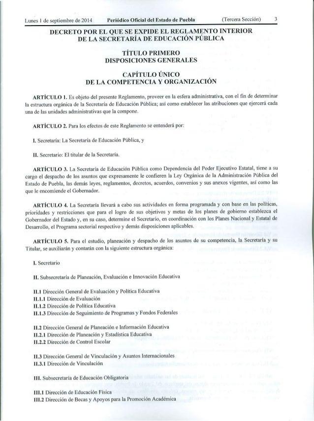 Reglamento interior secretar a de educaci n publica de puebla for De que se encarga el ministerio del interior