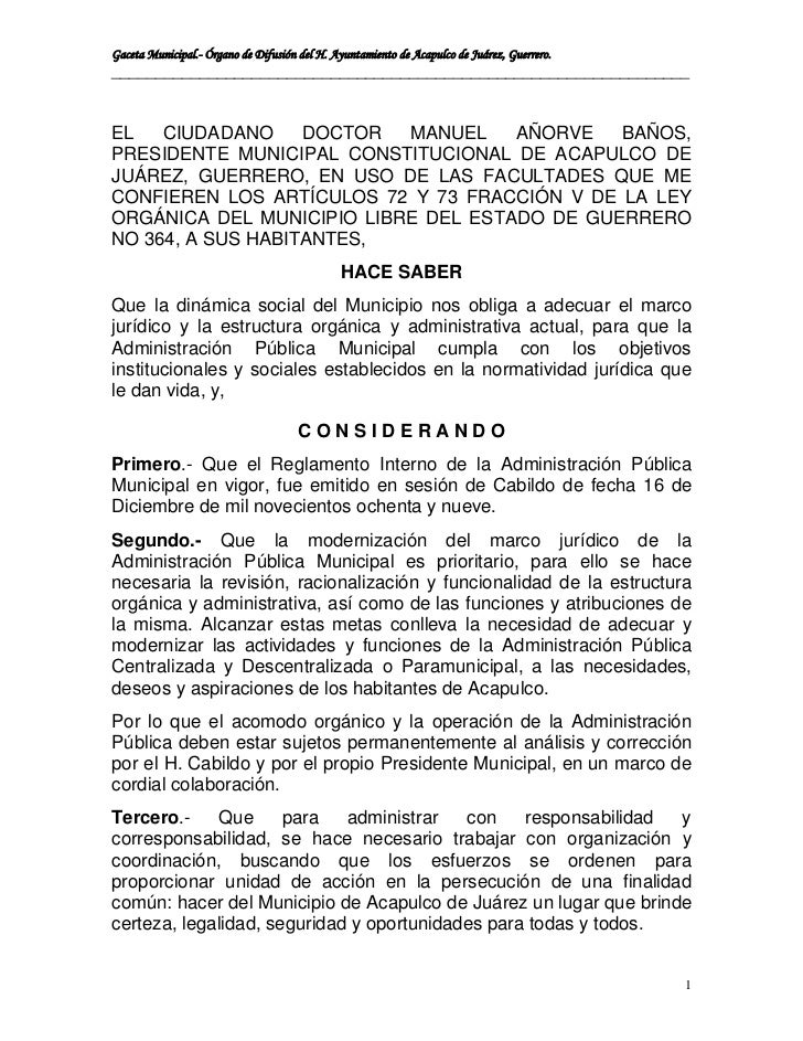 Gaceta Municipal.- Órgano de Difusión del H. Ayuntamiento de Acapulco de Juárez, Guerrero.________________________________...