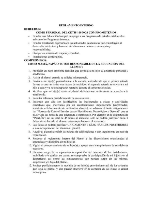 REGLAMENTO INTERNO  DERECHOS:   COMO PERSONAL DEI,  CETIS |09 NOS COMPROMETEMOS Brindar una Educación Integral en apego a ...