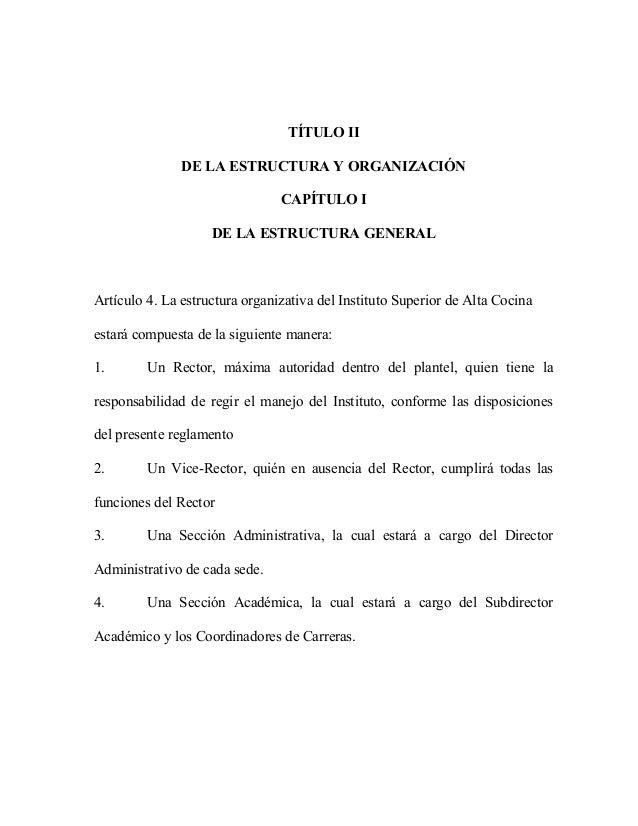 Reglamento interno 2014 for Estructura de una cocina de restaurante