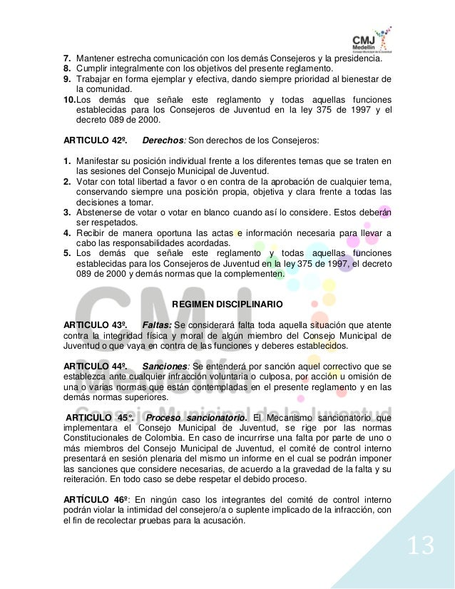 Reglamento interno cmj 2010 2013- Actual