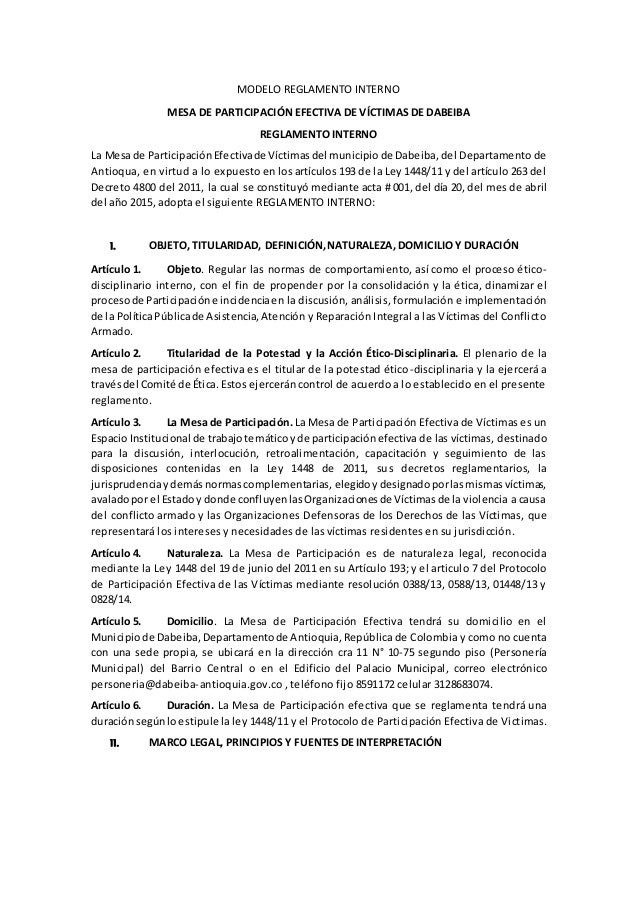 MODELO REGLAMENTO INTERNO MESA DE PARTICIPACIÓN EFECTIVA DE VÍCTIMAS DE DABEIBA REGLAMENTO INTERNO La Mesade Participación...