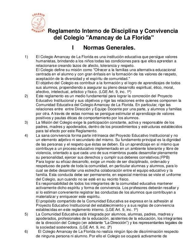 """Reglamento Interno de Disciplina y Convivencia              del Colegio """"Amancay de La Florida""""                          I..."""