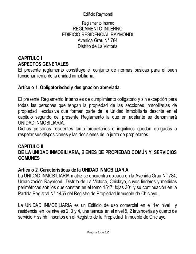 Edificio Raymondi Reglamento Interno REGLAMENTO INTERNO EDIFICIO RESIDENCIAL RAYMONDI Avenida Grau N° 784 Distrito de La V...