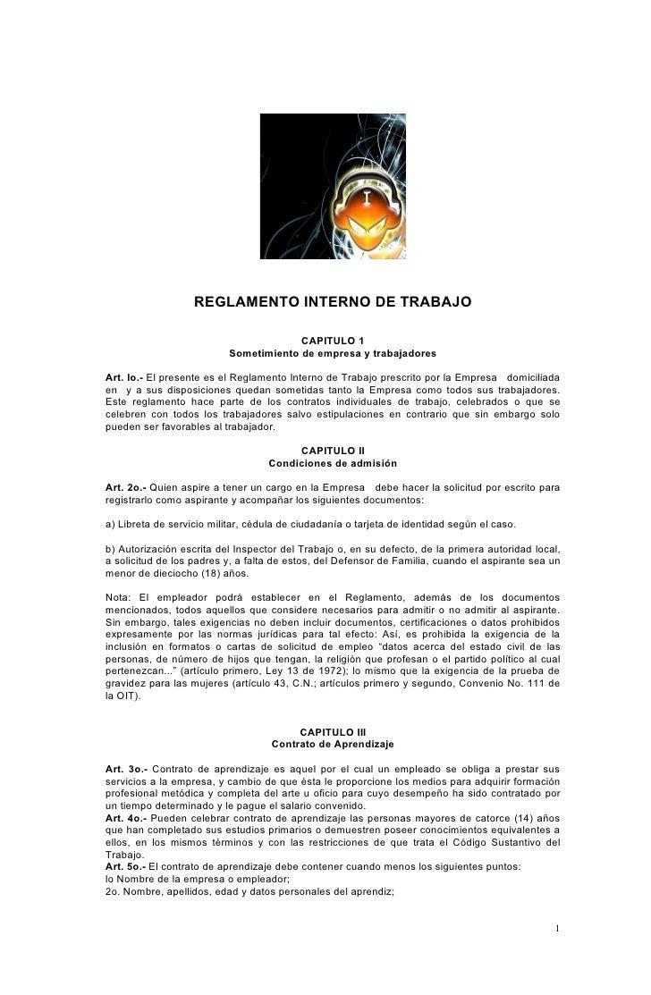 REGLAMENTO INTERNO DE TRABAJO                                          CAPITULO 1                            Sometimiento ...