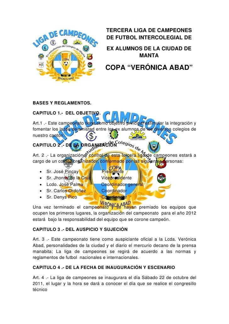 TERCERA LIGA DE CAMPEONES                                    DE FUTBOL INTERCOLEGIAL ...