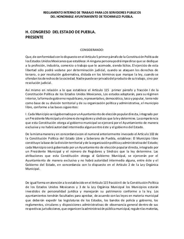 REGLAMENTO INTERNO DE TRABAJO PARA LOS SERVIDORES PUBLICOS DEL HONORABLE AYUNTAMIENTO DE TOCHIMILCO PUEBLA. H. CONGRESO DE...