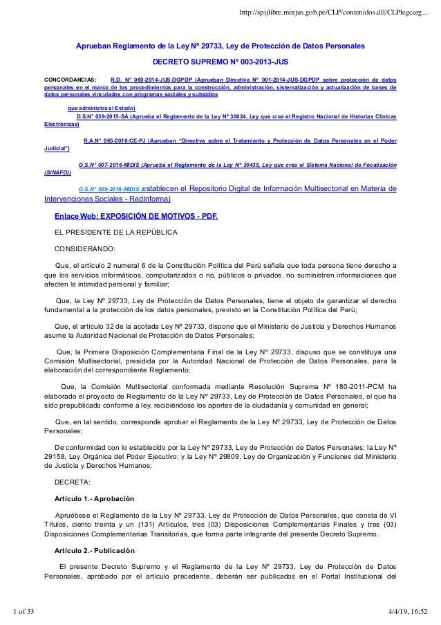 Aprueban Reglamento de la Ley Nº 29733, Ley de Protección de Datos Personales DECRETO SUPREMO Nº 003-2013-JUS CONCORDANCIA...