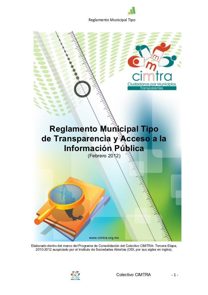 Reglamento Municipal Tipo         Reglamento Municipal Tipo      de Transparencia y Acceso a la           Informació...