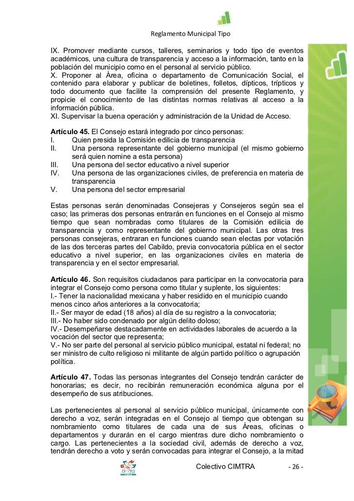 Reglamento municipal tipo de transparencia y acceso a la for Oficina de transparencia y acceso ala informacion