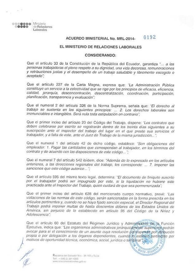 o t;  CQQOQ Peña-atun:  '¿COCO rïefleladoncs laborales  ACUERDO MINISTERIAL No.  MRL-2014- 0 1 9 2 EL MINISTERIO oe RELACIO...
