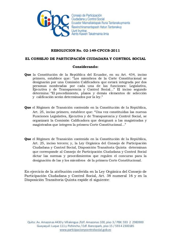 RESOLUCION No. 02-149-CPCCS-2011EL CONSEJO DE PARTICIPACIÓN CIUDADANA Y CONTROL SOCIAL                                  Co...