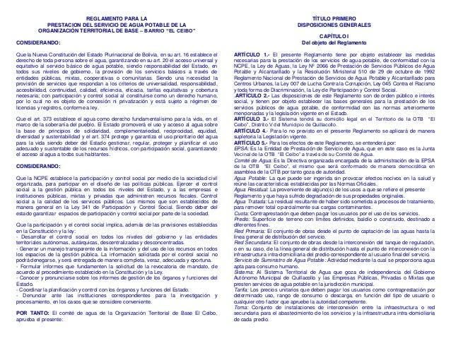 """REGLAMENTO PARA LA PRESTACION DEL SERVICIO DE AGUA POTABLE DE LA ORGANIZACIÓN TERRITORIAL DE BASE – BARRIO """"EL CEIBO"""" CONS..."""
